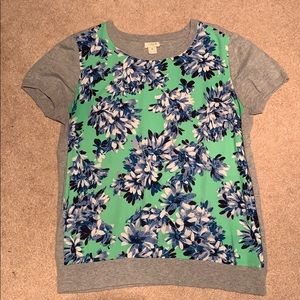 J Crew Grey/Flowery Short Sleeve Top